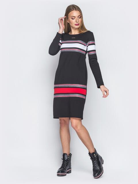 Платье черное с бело-красными вставками спереди - 18842, фото 1 – интернет-магазин Dressa