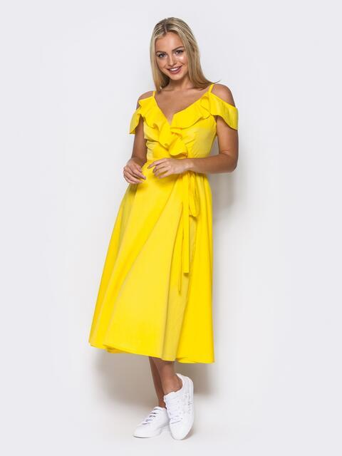 Желтое платье на запах на тонких бретелях - 10818, фото 1 – интернет-магазин Dressa