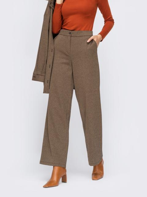 Широкие брюки из жаккарда с высокой посадкой бежевые 55267, фото 1