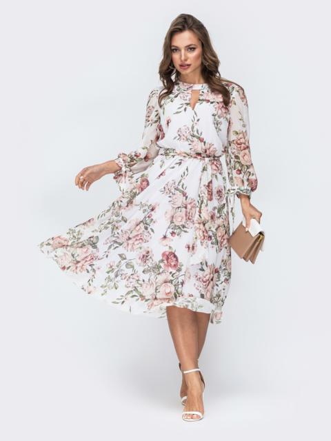 """Белое шифоновое платье-миди с вырезом """"капля"""" - 45459, фото 1 – интернет-магазин Dressa"""