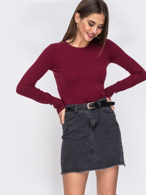 Бордовый джемпер из трикотажа с круглым вырезом - 42548, фото 1 – интернет-магазин Dressa
