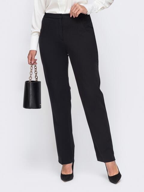Черные брюки большого размера с резинкой в поясе 50909, фото 1
