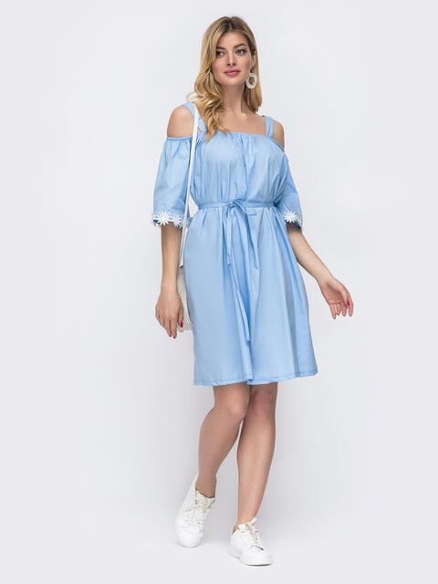 Голубое платье свободного кроя с открытой линией плеч 48557, фото 1