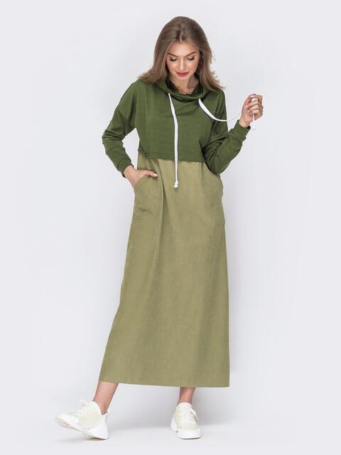 Комбинированное платье цвета хаки с воротником-хомут 53631, фото 1