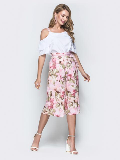 Комплект из блузки и принтованных брюк-кюлотов розовый 38698, фото 1