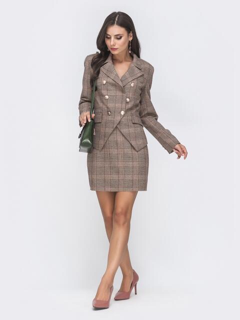 Комплект в коричневую клетку из юбки и жакета - 41295, фото 1 – интернет-магазин Dressa