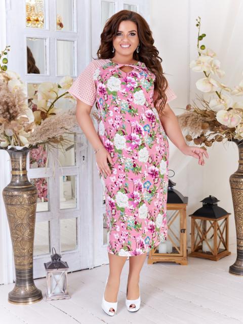 Платье батал с принтом и рукавом-реглан розовое 47715, фото 1