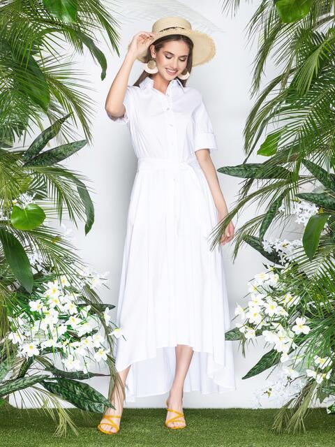 Платье-макси с удлиненной спинкой белое 21955, фото 1