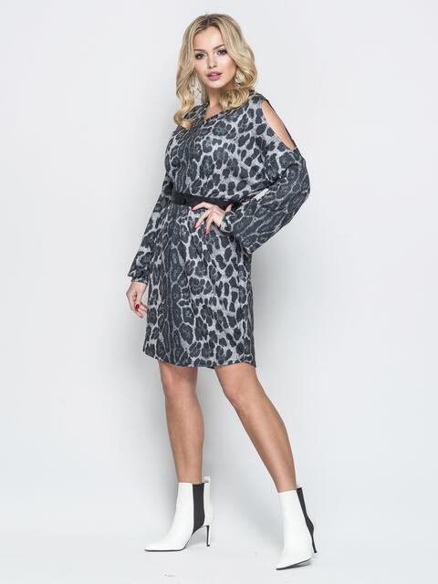 Платье oversize с леопардовым принтом и открытыми плечами - 20166, фото 2 – интернет-магазин Dressa