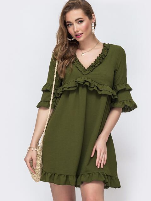 Платье с рюшами на лифе и рукавах цвета хаки 48479, фото 1