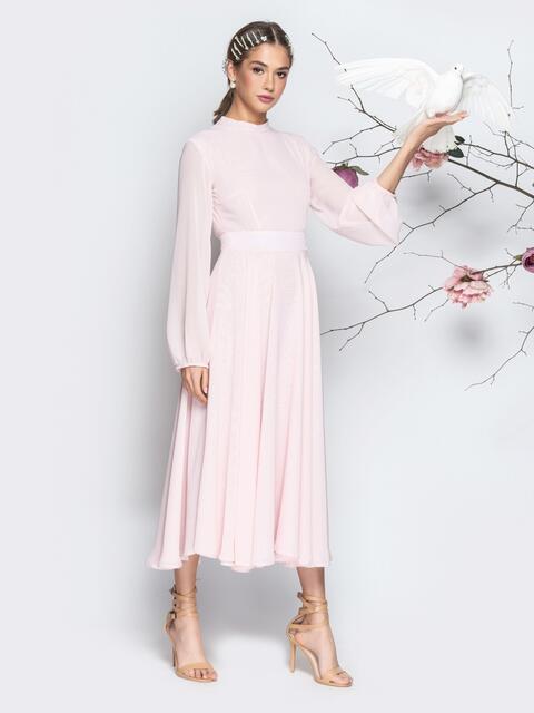 Пудровое платье с открытой спиной и юбкой-солнце - 21281, фото 1 – интернет-магазин Dressa
