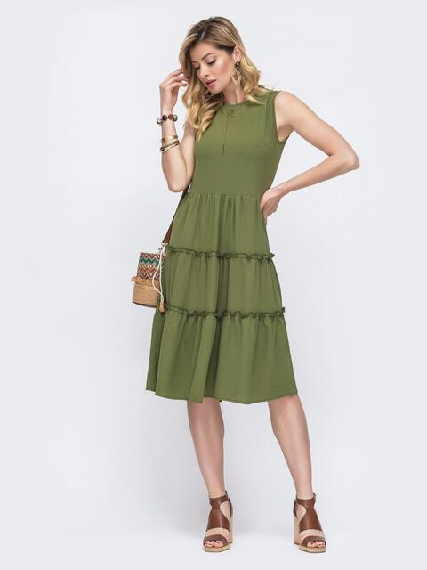 Расклешенное платье с отрезом по линии талии хаки 48553, фото 1