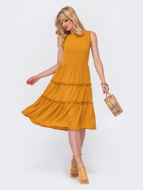 Расклешенное платье с отрезом по линии талии желтое 48552, фото 1