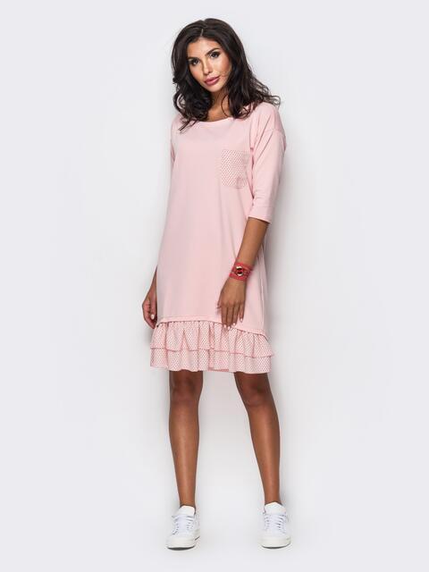 Розовое платье с двухъярусной оборкой на полочке - 11510, фото 1 – интернет-магазин Dressa