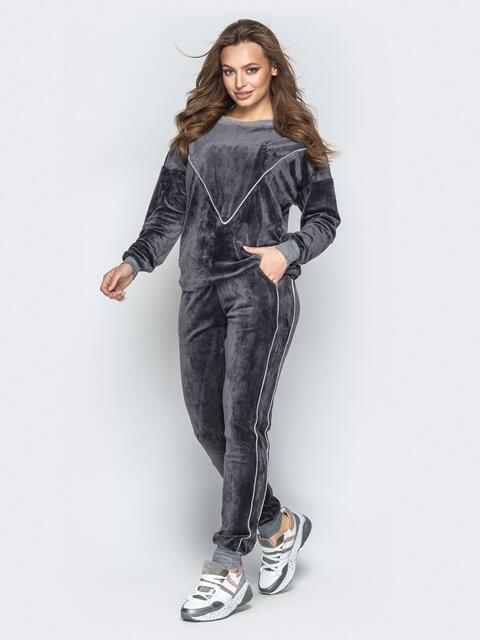 Спортивный костюм из велюра с контрастной окантовкой - 20864, фото 1 – интернет-магазин Dressa