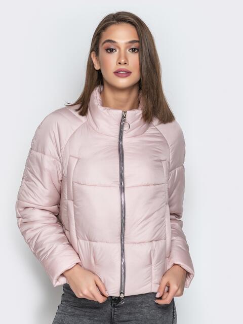 Укороченная куртка с воротником-стойкой и карманами розовая - 20306, фото 1 – интернет-магазин Dressa