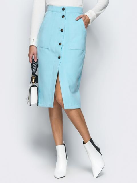 Юбка-карандаш голубого цвета из кашемира - 17390, фото 1 – интернет-магазин Dressa