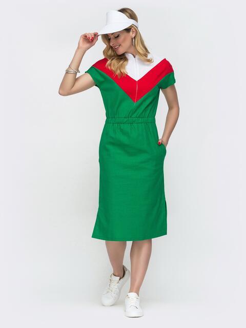 Зелёное платье в спортивном стиле с цельнокроеным рукавом - 48555, фото 1 – интернет-магазин Dressa