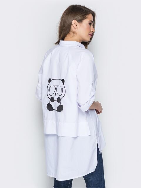 """Белая рубашка с вышивкой на спинке """"панда"""" - 19387, фото 1 – интернет-магазин Dressa"""