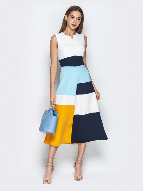 Белое платье без рукавов с контрастными вставками - 21275, фото 1 – интернет-магазин Dressa