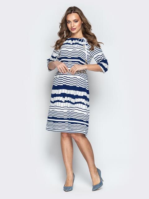 Белое платье с геометрическим принтом и кулиской по горловине - 20768, фото 1 – интернет-магазин Dressa