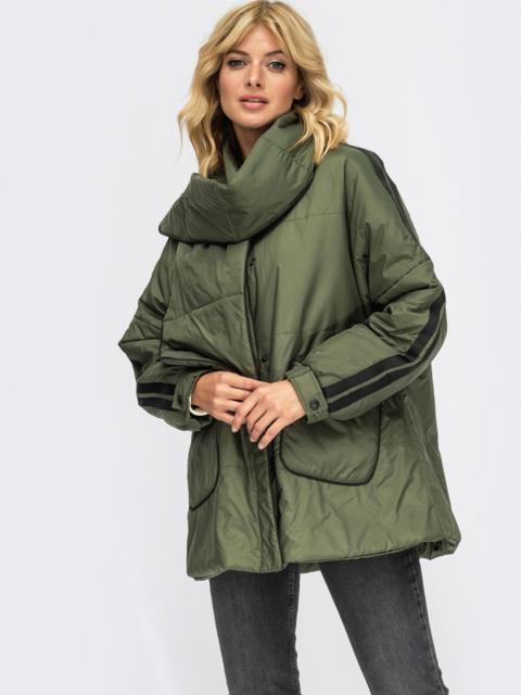 Демисезонная куртка цвета хаки с шарфом 54981, фото 1