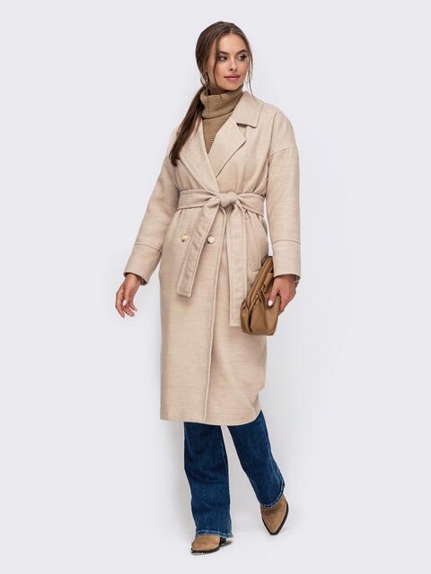 Демисезонное пальто со спущенной линией плеч бежевое 50252, фото 1