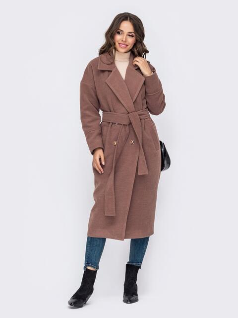 Демисезонное пальто со спущенной линией плеч коричневое 50253, фото 1