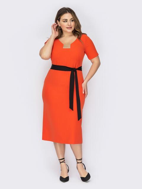 Оранжевое платье батал с V-образным вырезом 53626, фото 1