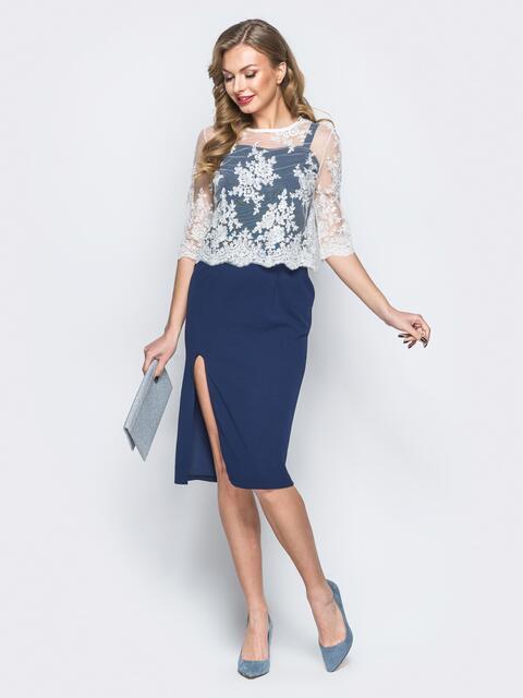 Платье тёмно-синего цвета с болеро в комплекте - 18293, фото 1 – интернет-магазин Dressa