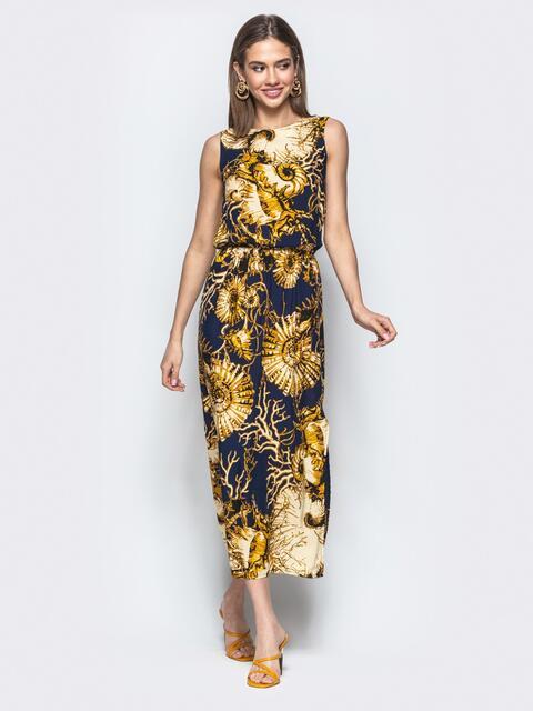 Принтованное платье-миди с разрезом чёрное 21831, фото 1