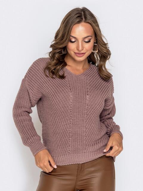 Пудровый свитер крупной вязки - 41148, фото 1 – интернет-магазин Dressa