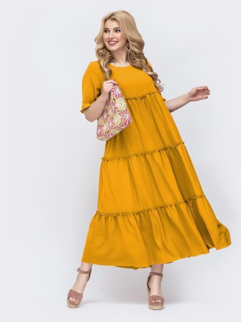 Свободное платье батал в пол желтого цвета 49691, фото 1
