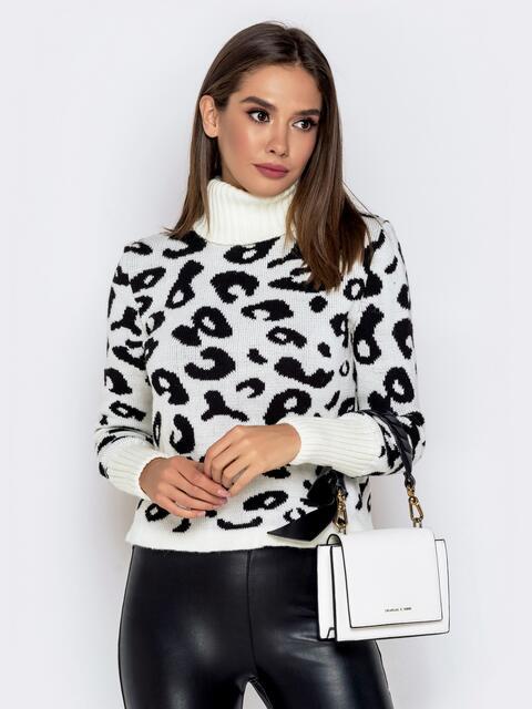Вязаный свитер с анималистичным узором белый - 41140, фото 1 – интернет-магазин Dressa