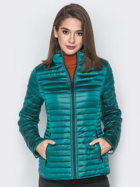 Зелёная куртка с воротником-стойкой и карманами - 20288, фото 1 – интернет-магазин Dressa