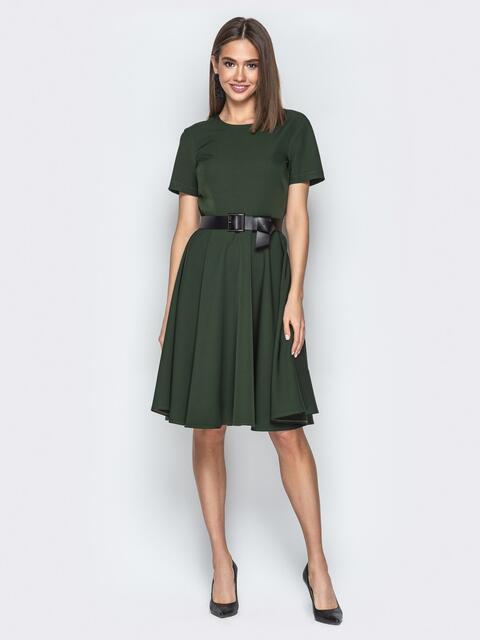 Зелёное платье с юбкой-клеш и короткими рукавами - 20630, фото 1 – интернет-магазин Dressa