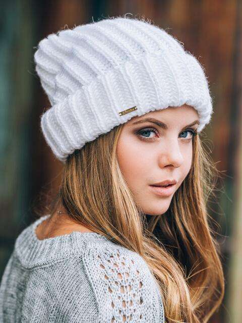 Белая шапка без подкладки - 14754, фото 1 – интернет-магазин Dressa