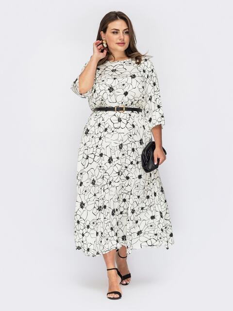 Белое платье большого размера с цветочным принтом 53937, фото 1