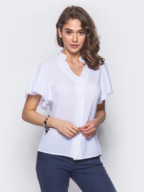 Блузка с V-образной горловиной и рукавом-крылышко - 10085, фото 1 – интернет-магазин Dressa