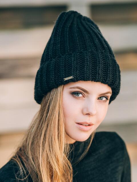Черная шапка без подкладки - 14756, фото 1 – интернет-магазин Dressa