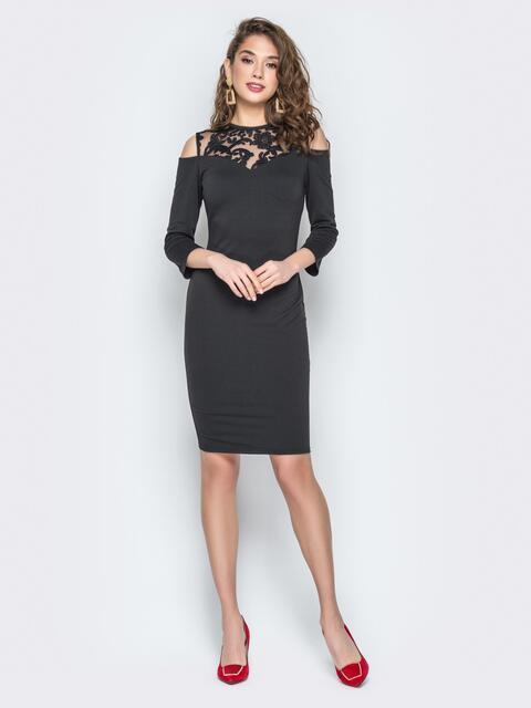 Черное платье с кокеткой из гипюра и открытыми плечами - 19225, фото 1 – интернет-магазин Dressa