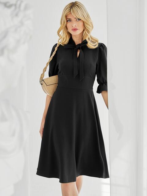 Чёрное платье с воротником-аскот и рукавом-фонарик 50082, фото 1