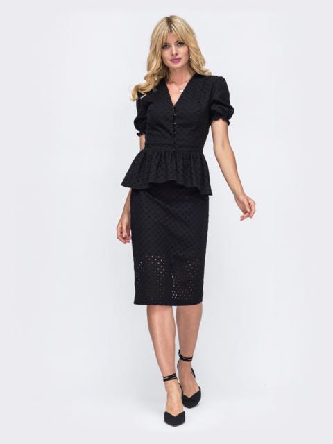 Чёрный комплект из прошвы с блузкой и юбкой 50079, фото 1