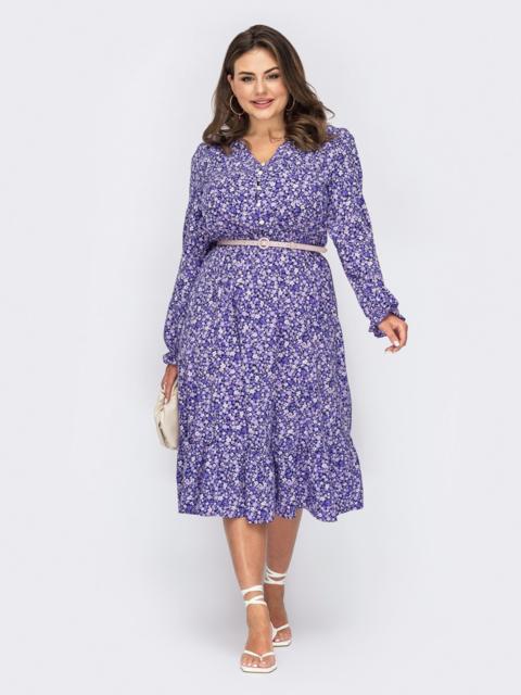 Фиолетовое платье большого размера с цветочным принтом 53938, фото 1
