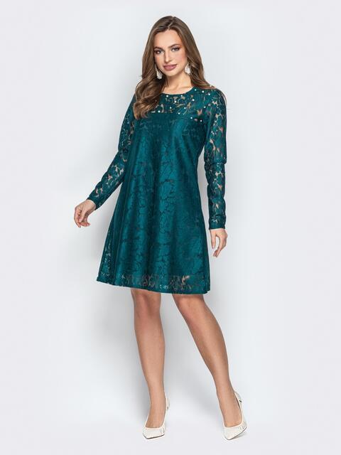 Гипюровое платье-трапеция с жемчужинами на кокетке бутылка - 20604, фото 1 – интернет-магазин Dressa