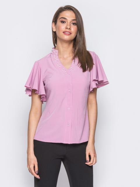 Лиловая блузка с V-образной горловиной и рукавом-крылышко - 10089, фото 1 – интернет-магазин Dressa