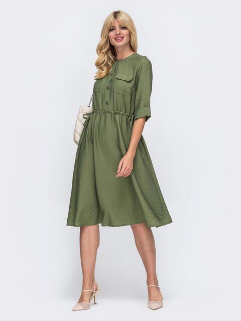 Платье с кулиской по талии и расклешенной юбкой хаки 50083, фото 1