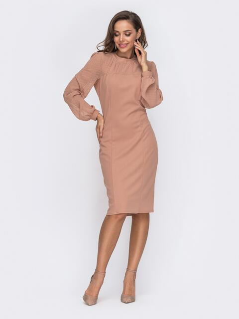 Приталенное платье с фатиновыми рукавами бежевое 50803, фото 1