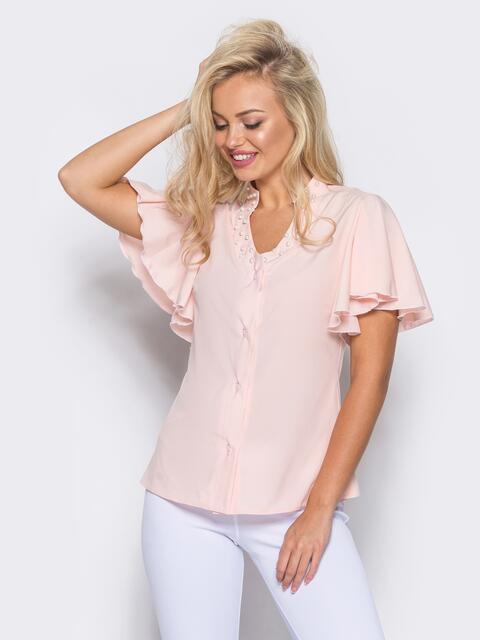 Пудровая блузка с V-образной горловиной и рукавом-крылышко - 10086, фото 1 – интернет-магазин Dressa