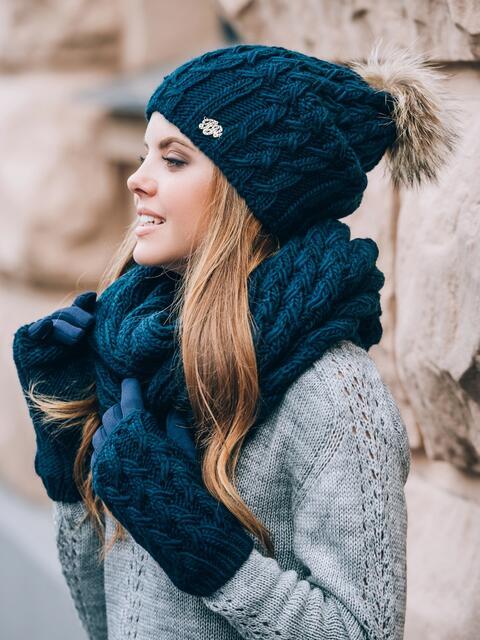 Тёмно-синий комплект с перчатками и помпоном на шапке - 14885, фото 1 – интернет-магазин Dressa